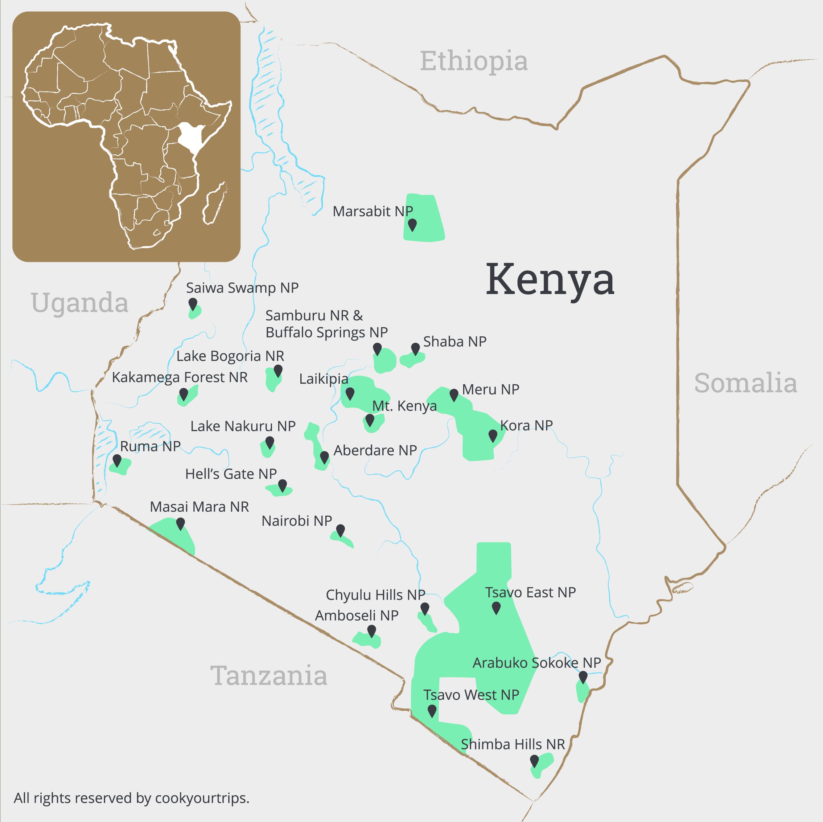 Kenia Karte.Kenia Safari Und Reisen Cookyourtrips