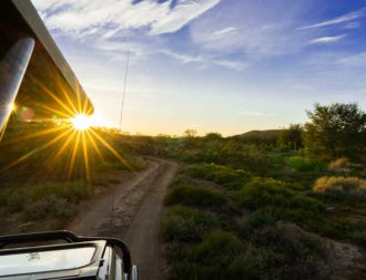 Morgenstimmung im Safarifahrzeug im Sanbona Game Reserve