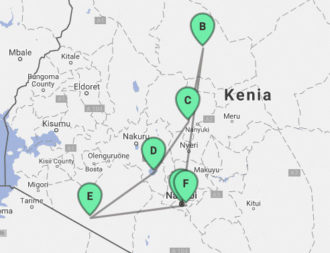 Karte der 13 taegige Rundreise Best of Kenia